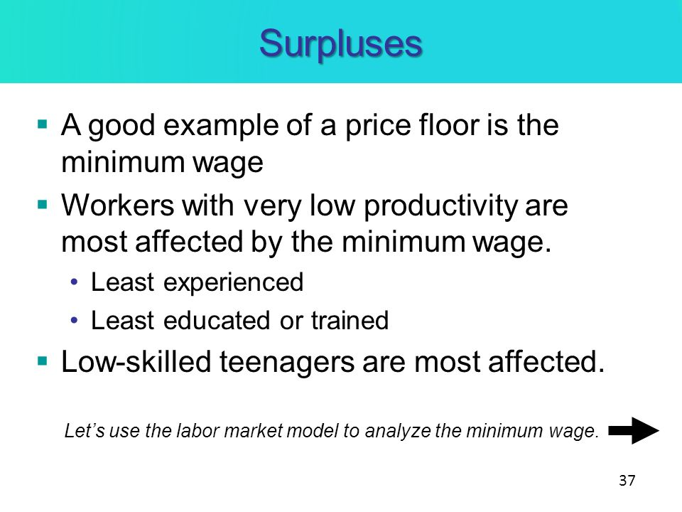 Surpluses A good example of a price floor is the minimum wage