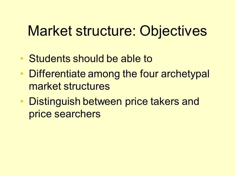 Market structure: Objectives