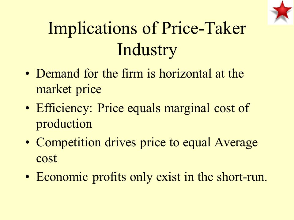 Implications of Price-Taker Industry