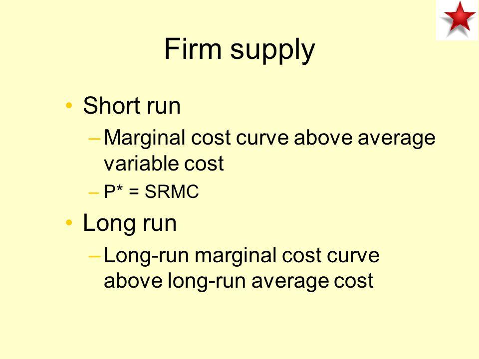 Firm supply Short run Long run