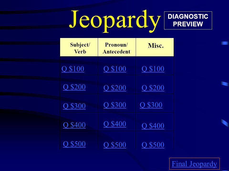 Jeopardy Q $100 Q $100 Q $100 Q $200 Q $200 Q $200 Q $300 Q $300