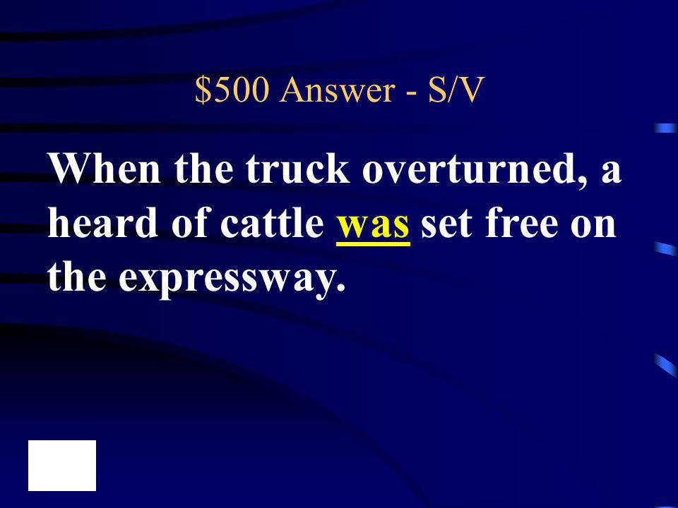 $500 Answer - S/V When the truck overturned, a heard of cattle was set free on the expressway.