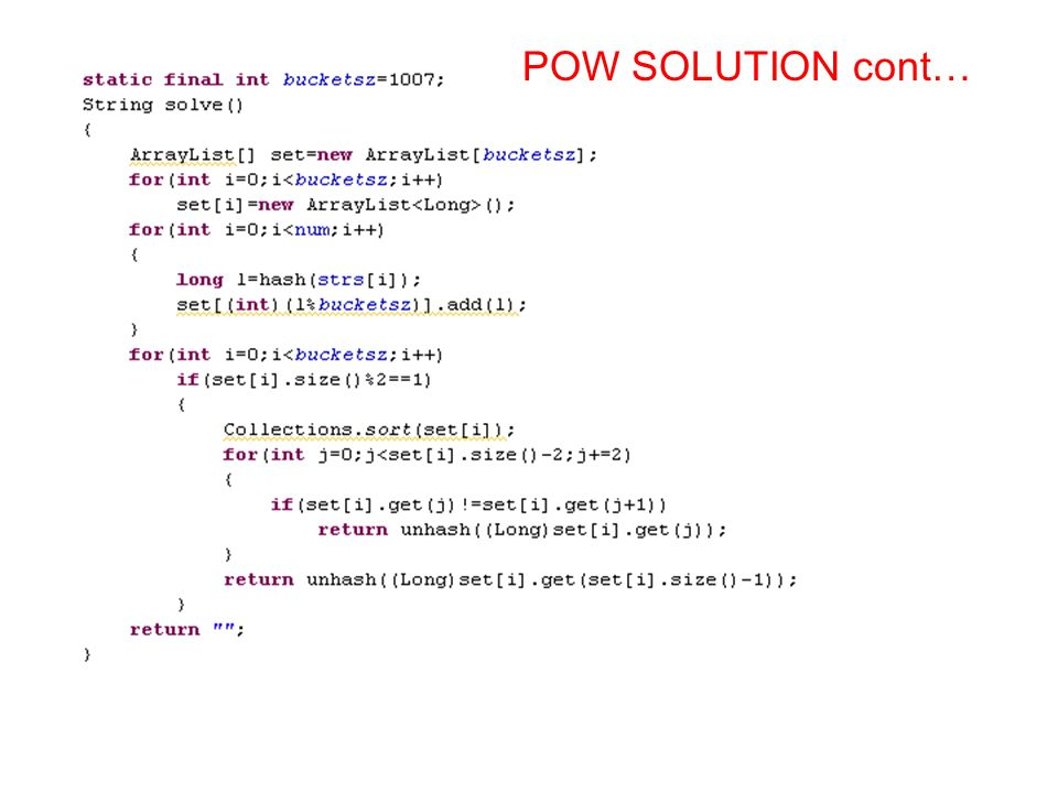 POW SOLUTION cont…