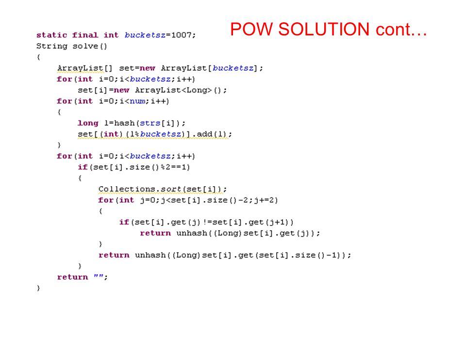POW SOLUTION cont…