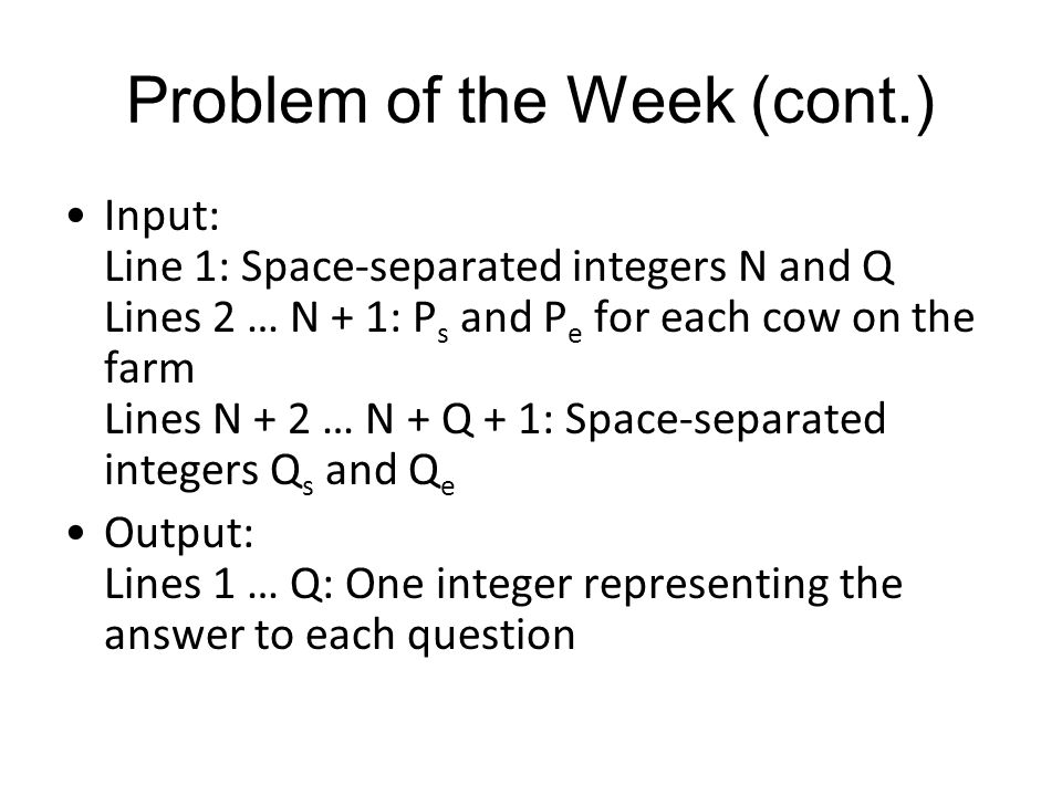 Problem of the Week (cont.)