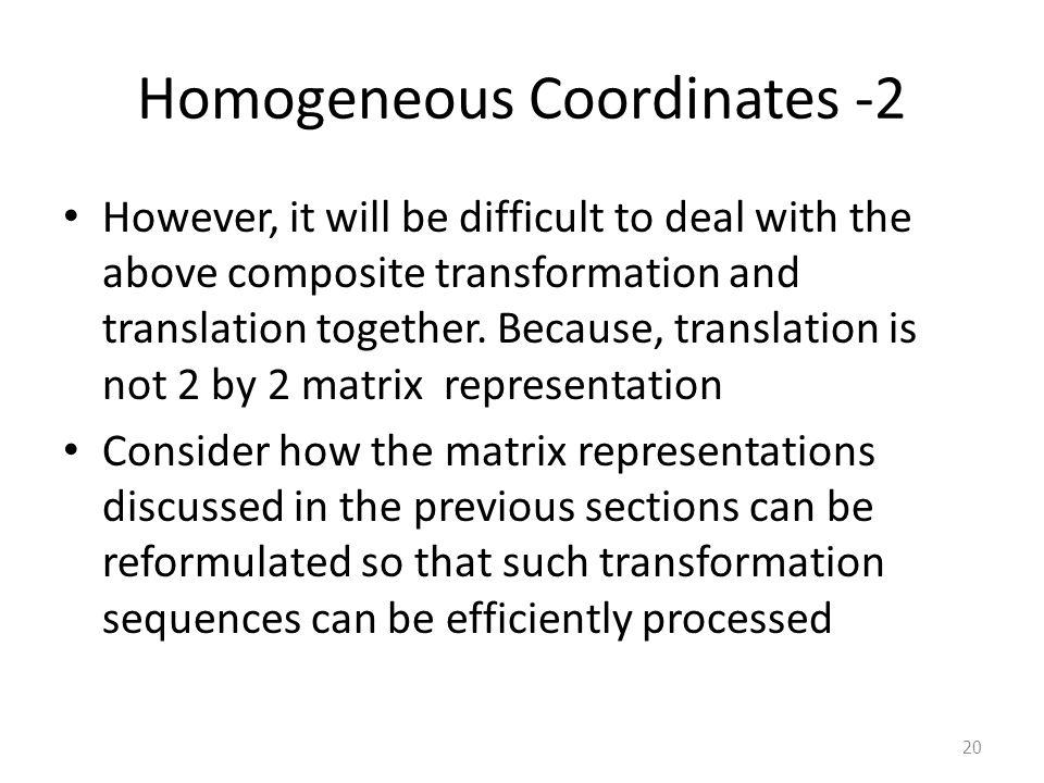 Homogeneous Coordinates -2