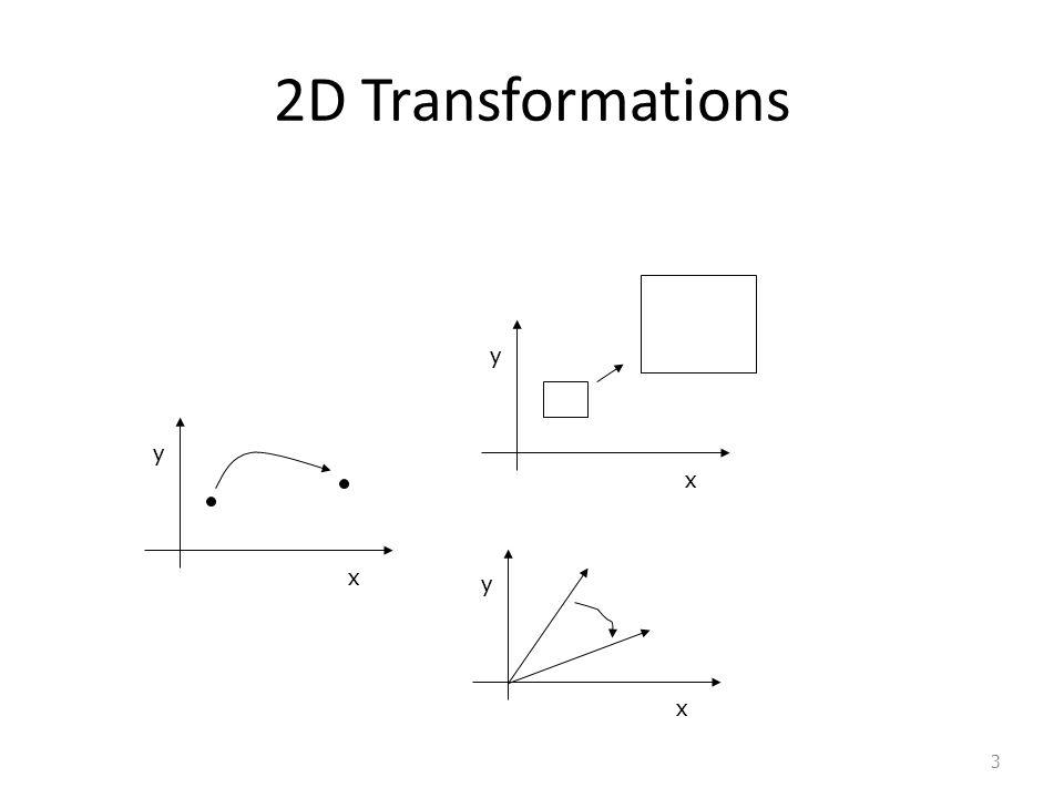 2D Transformations y y x x y x