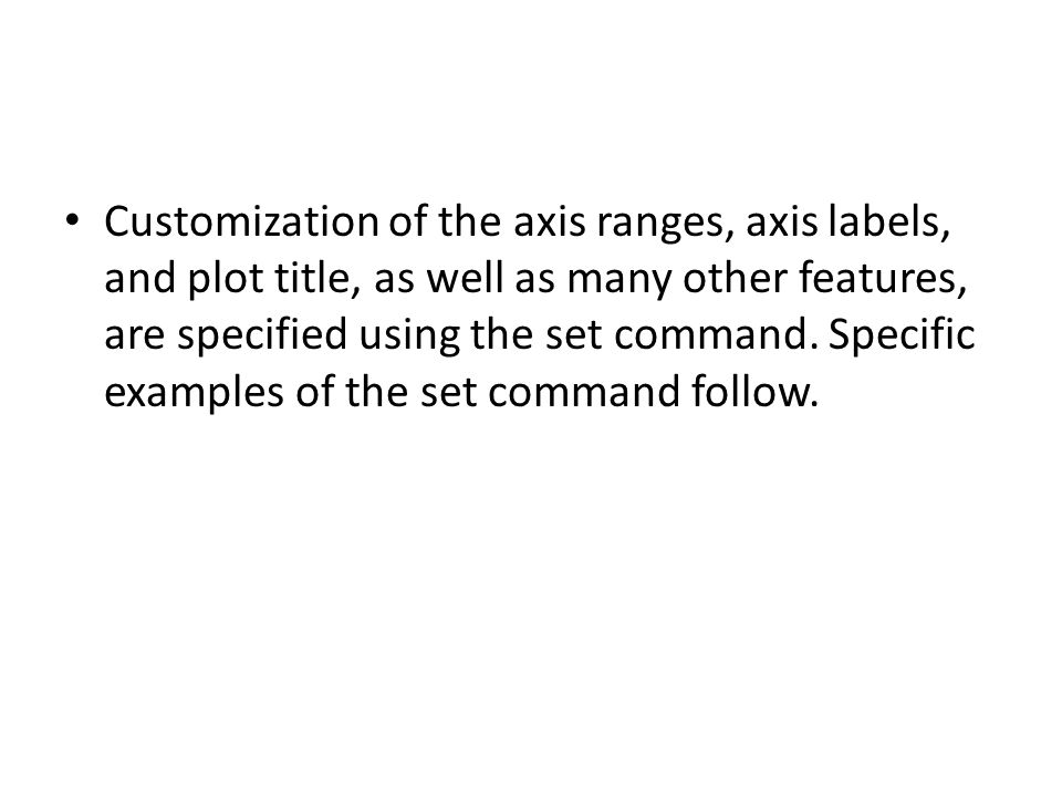 Customization of the axis ranges, axis labels, and plot title, as well as many other features, are specified using the set command.