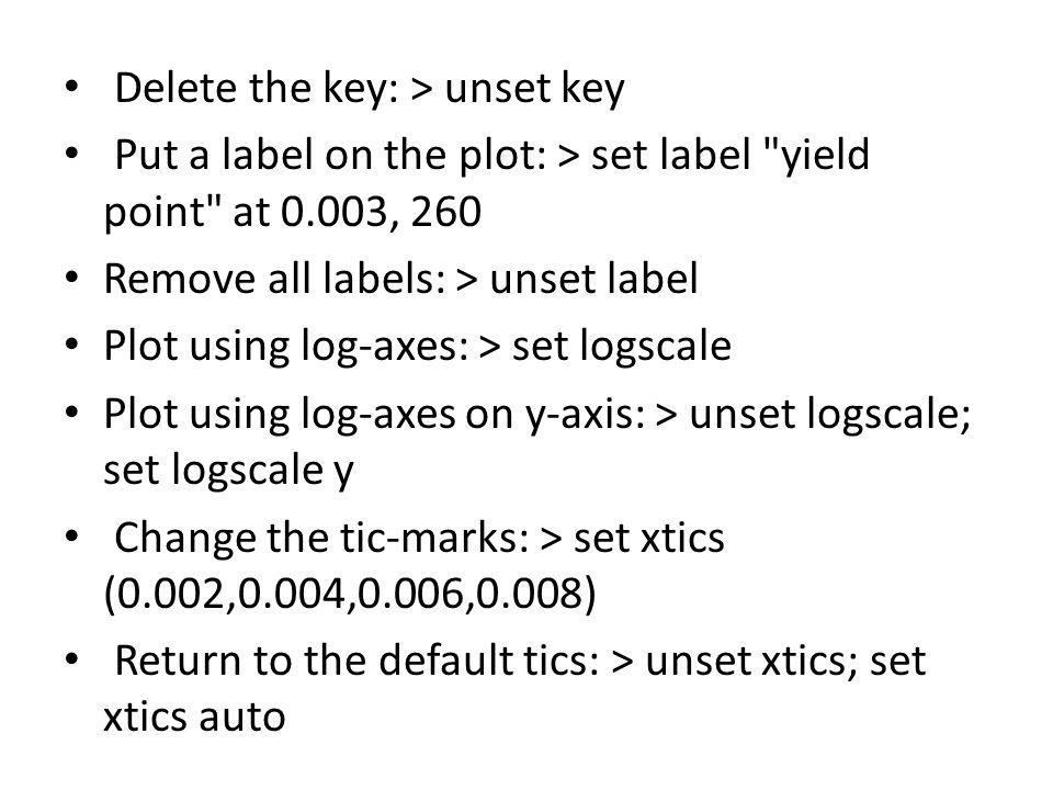 Delete the key: > unset key