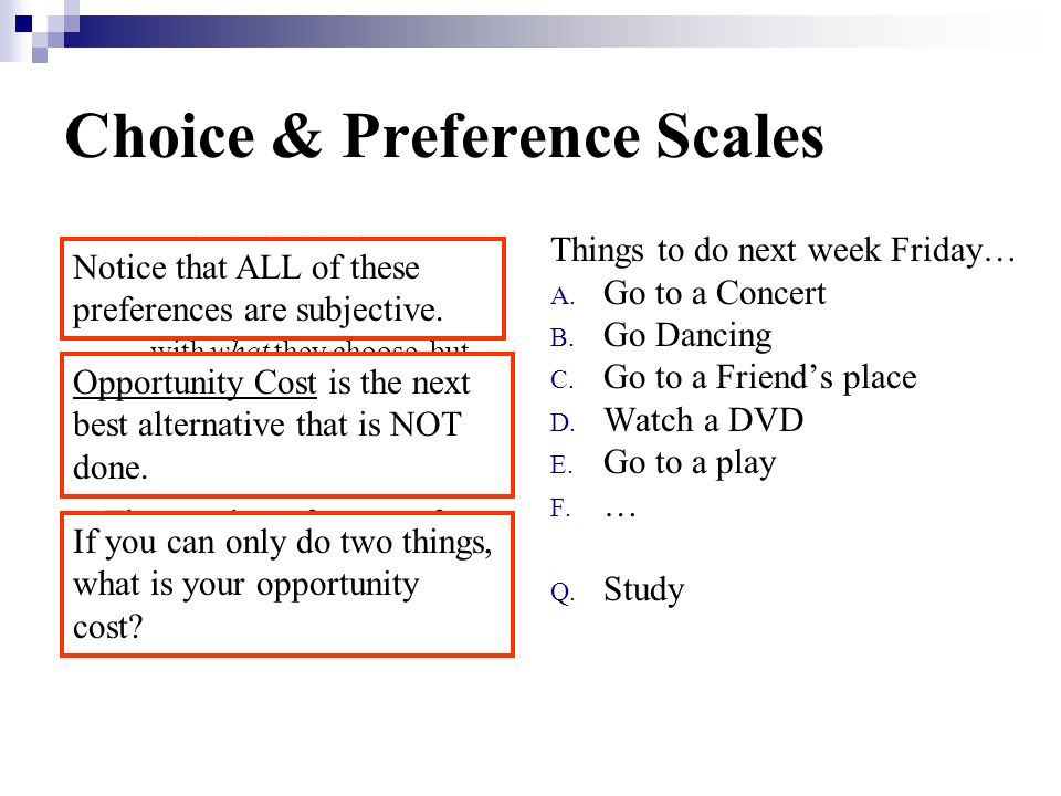 Choice & Preference Scales