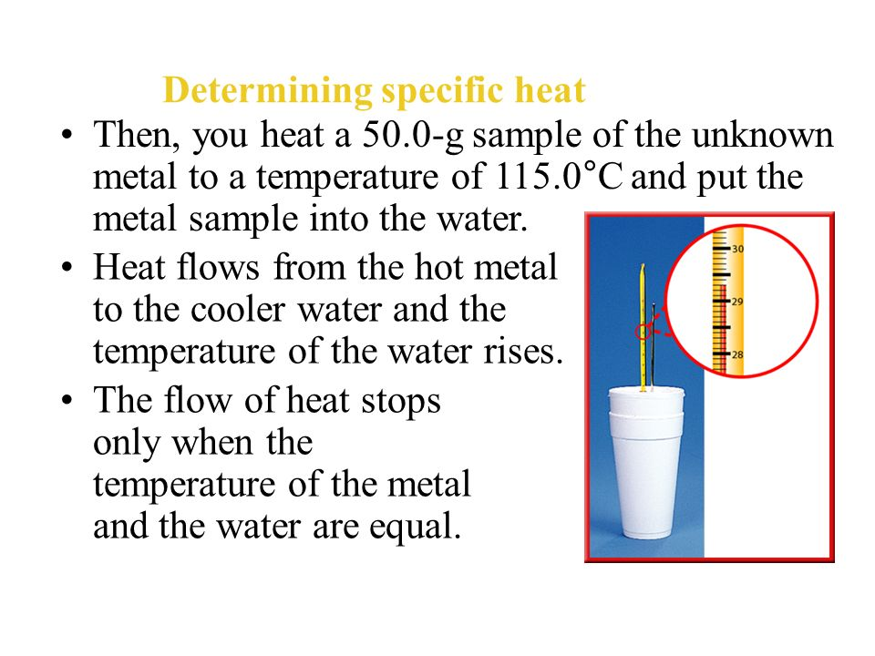 determination of specific heat The specific heat is the amount of heat per unit mass required to raise the temperature by one degree celsius the relationship between heat and temperature change is usually expressed in.