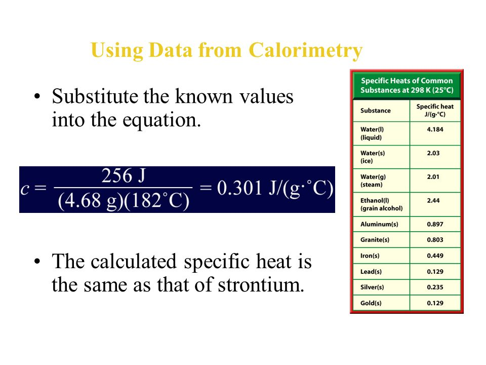 Using Data from Calorimetry