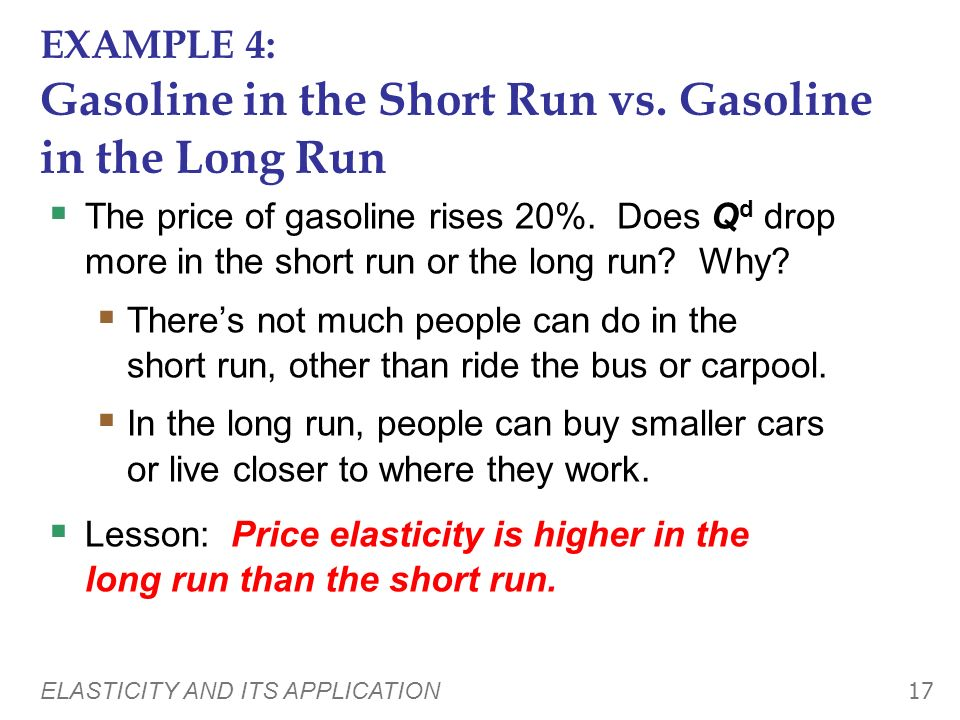 EXAMPLE 4: Gasoline in the Short Run vs. Gasoline in the Long Run
