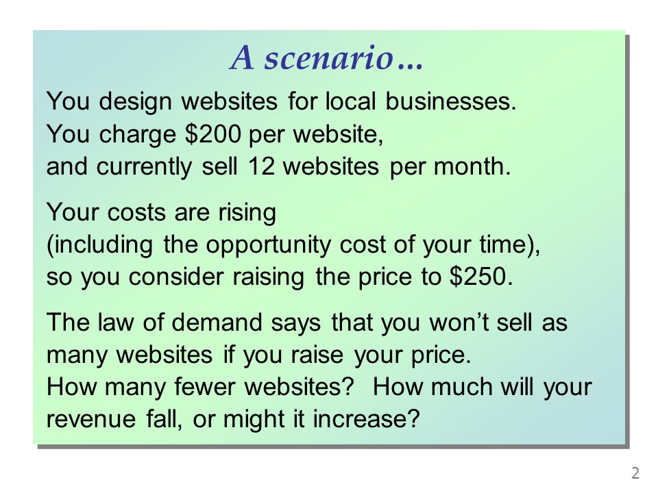 You design websites for local businesses. You charge $200 per website, and currently sell 12 websites per month.