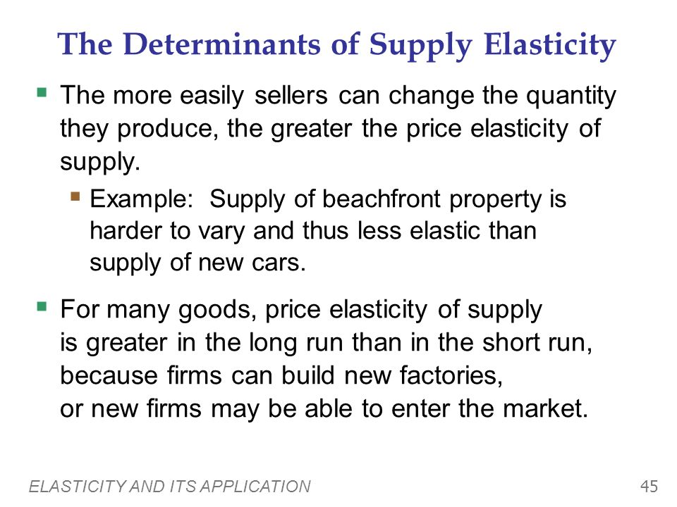 The Determinants of Supply Elasticity