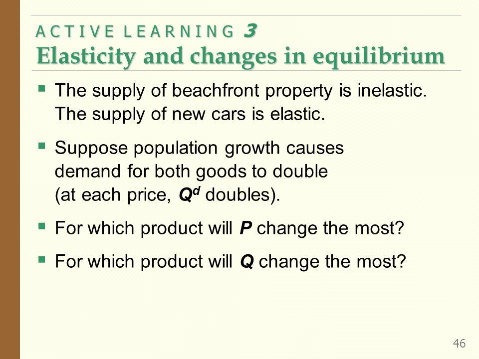 A C T I V E L E A R N I N G 3 Elasticity and changes in equilibrium