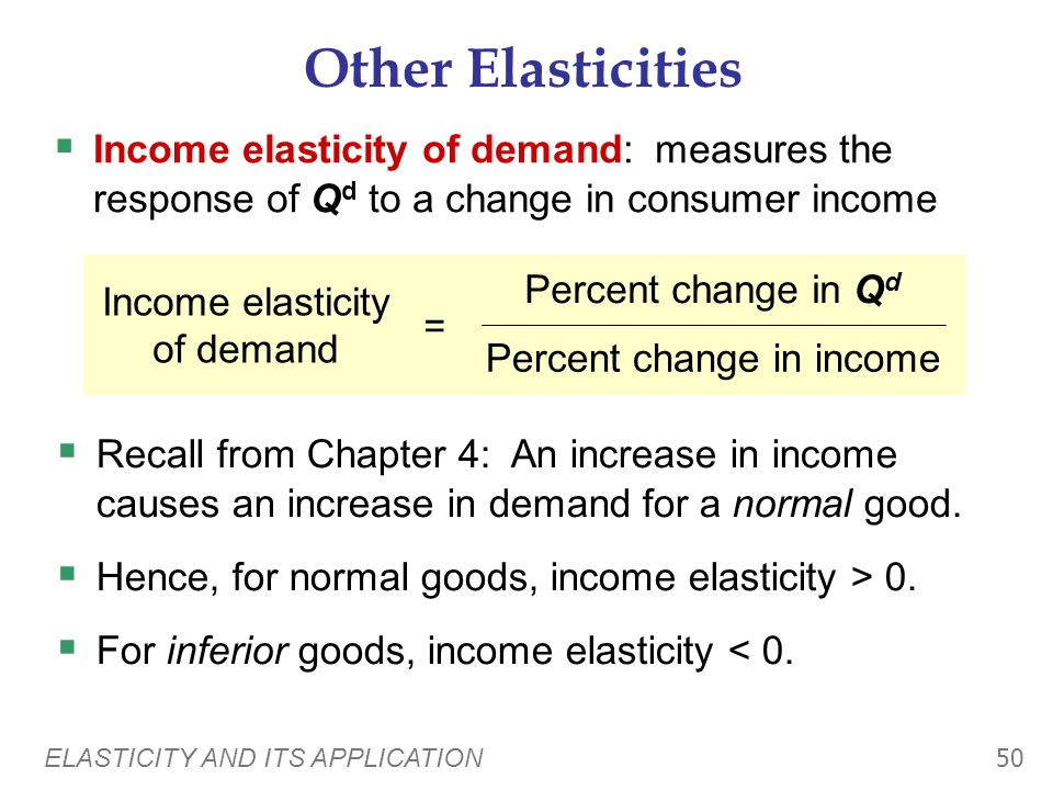 Other Elasticities Income elasticity of demand: measures the response of Qd to a change in consumer income.