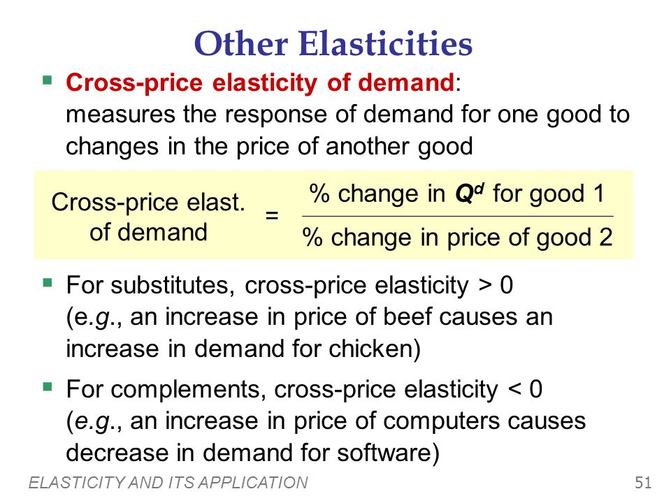 Other Elasticities Cross-price elasticity of demand: measures the response of demand for one good to changes in the price of another good.