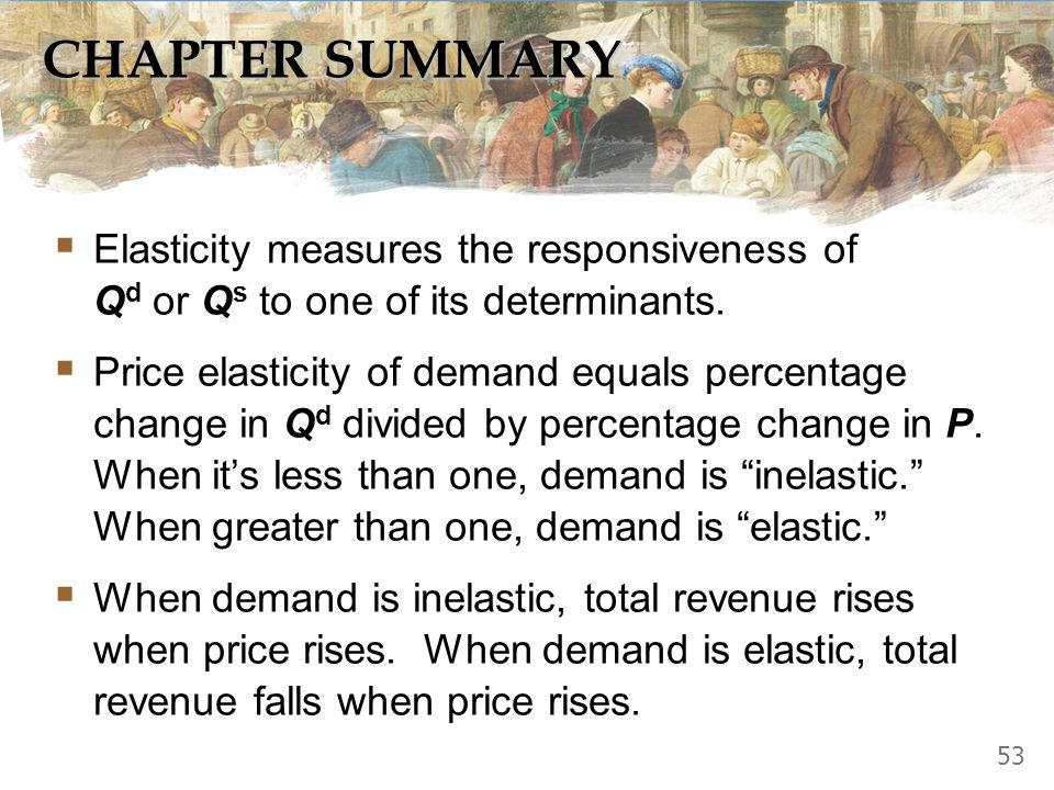 CHAPTER SUMMARY Elasticity measures the responsiveness of Qd or Qs to one of its determinants.