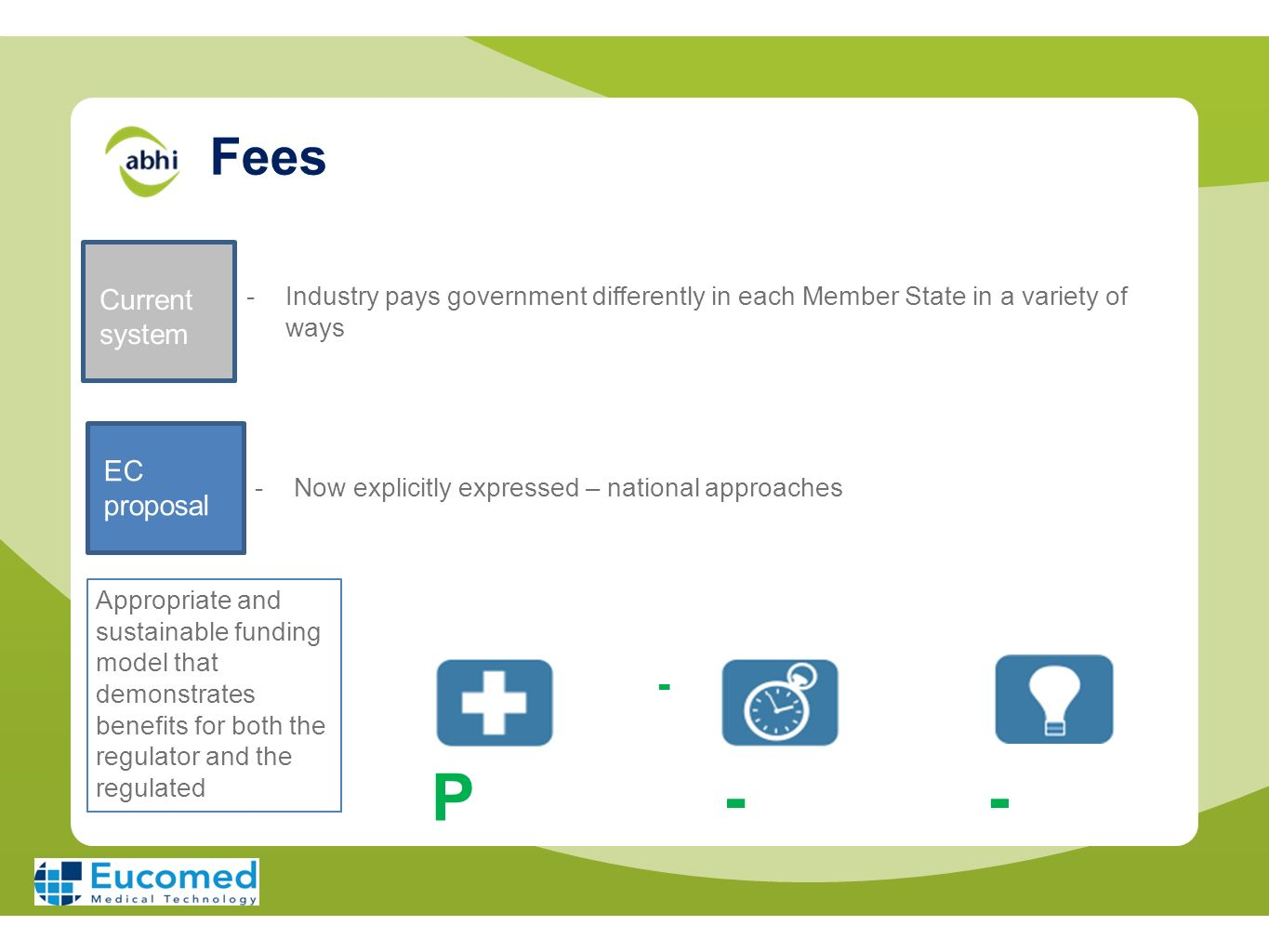 P - Fees - Current system EC proposal
