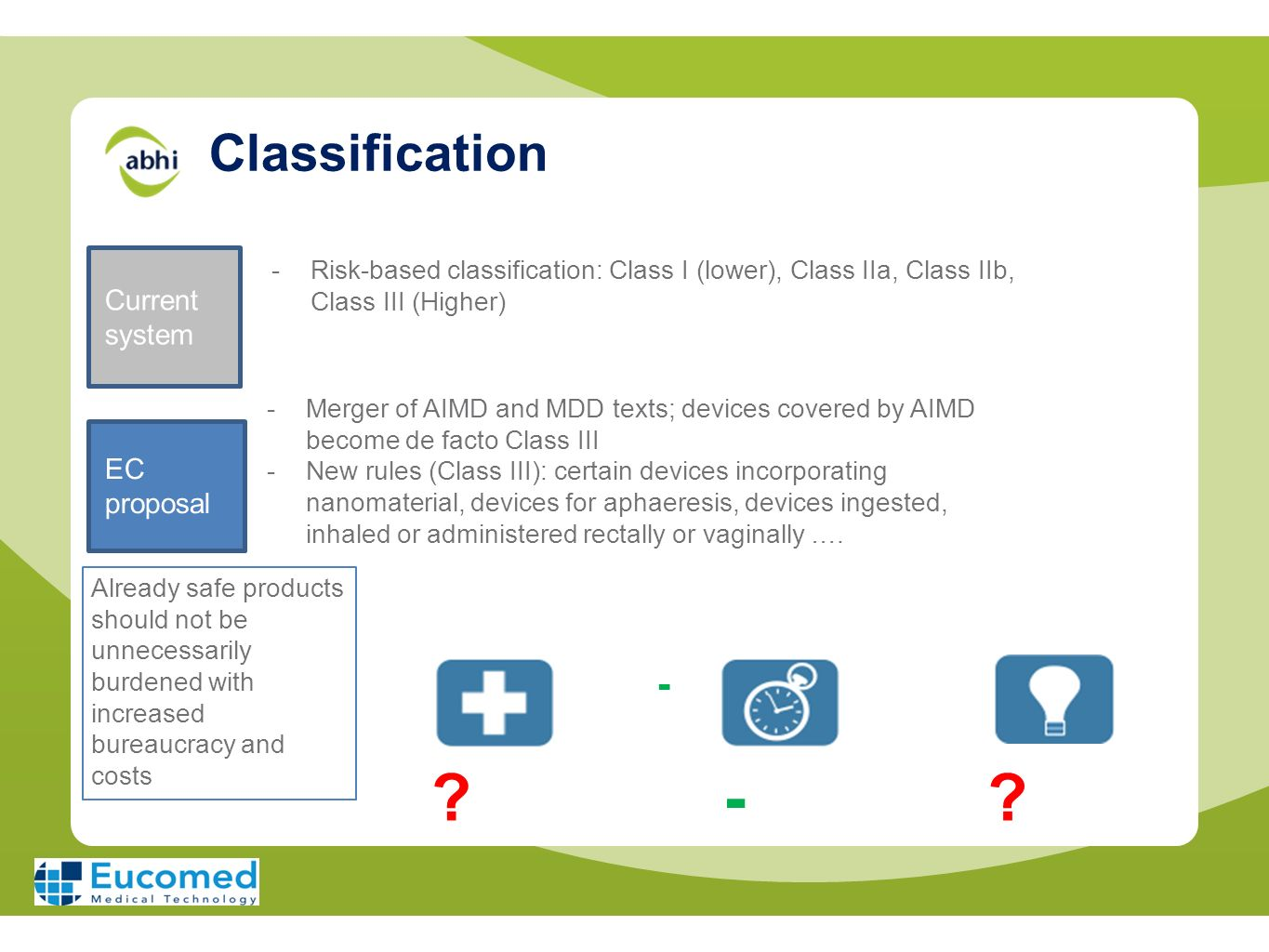 - Classification - Current system EC proposal