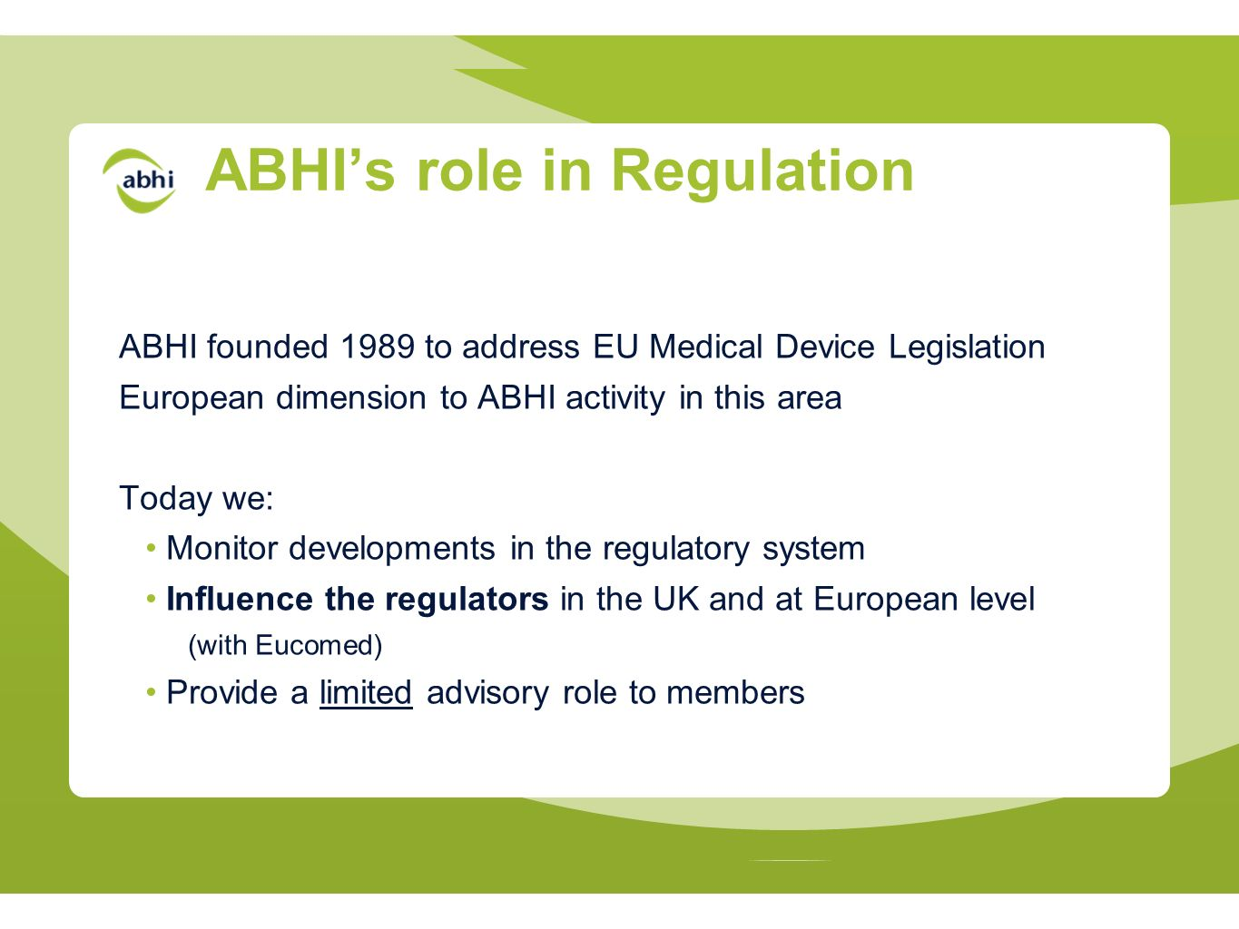 ABHI's role in Regulation