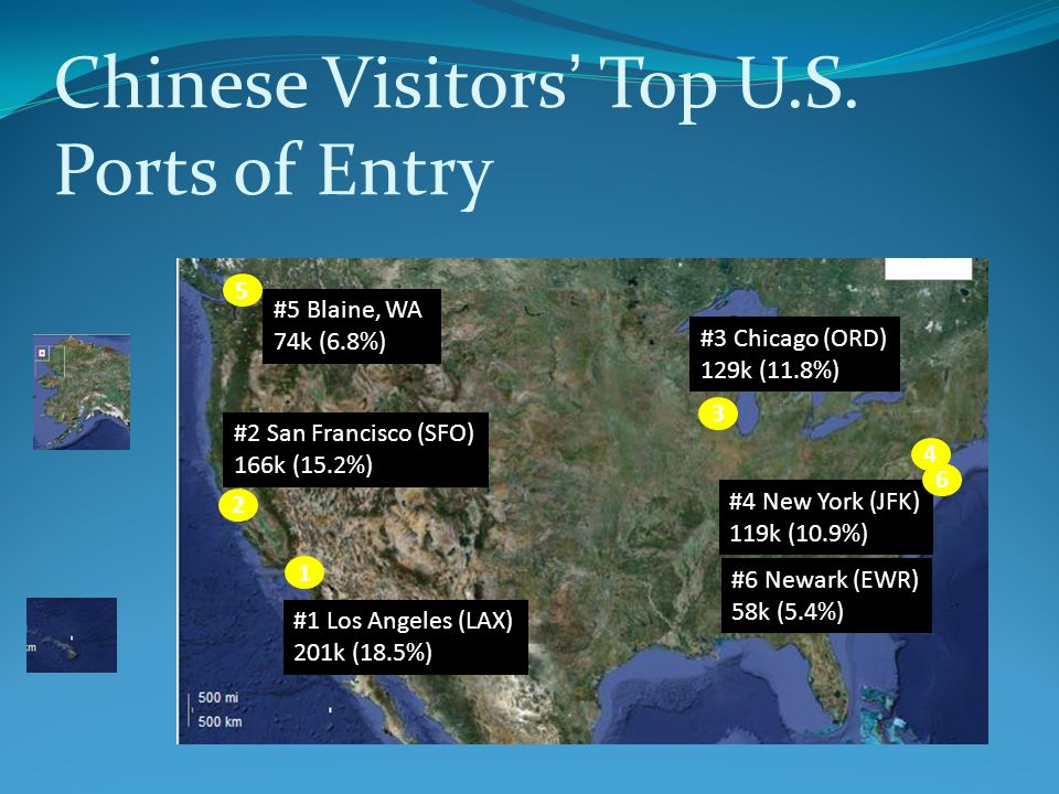 Chinese Visitors' Top U.S. Ports of Entry