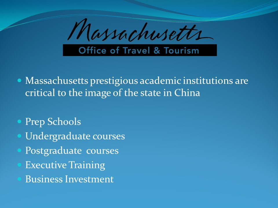 Massachusetts prestigious academic institutions are critical to the image of the state in China