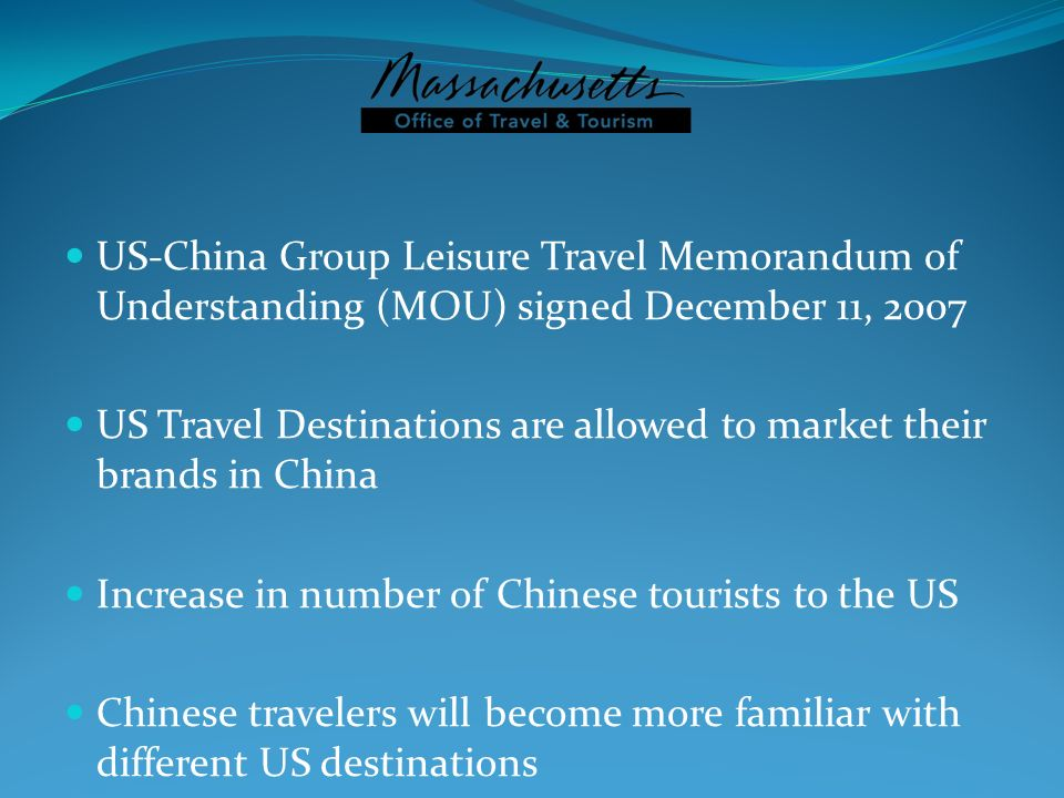 US-China Group Leisure Travel Memorandum of Understanding (MOU) signed December 11, 2007