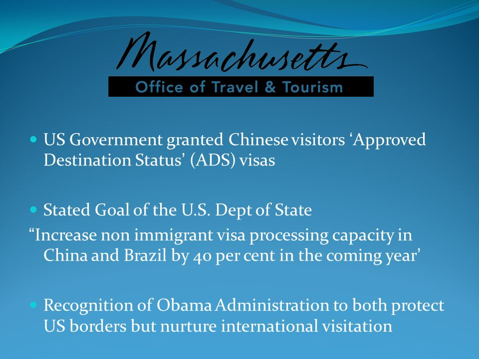 US Government granted Chinese visitors 'Approved Destination Status' (ADS) visas