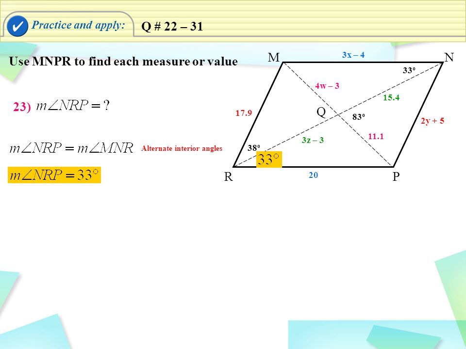 Use MNPR to find each measure or value