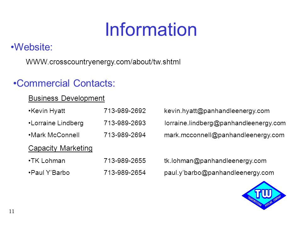 Information Website: Commercial Contacts: