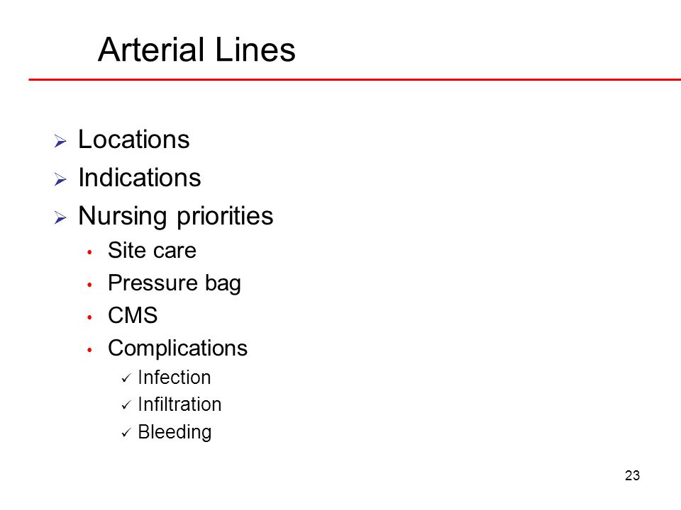 Arterial Lines Locations Indications Nursing priorities Site care