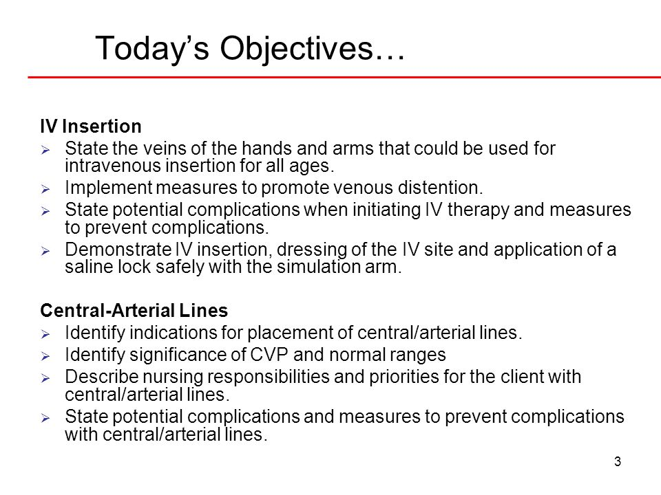 Today's Objectives… IV Insertion