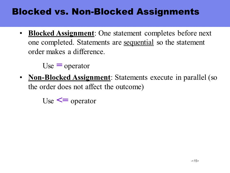 Blocked vs. Non-Blocked Assignments
