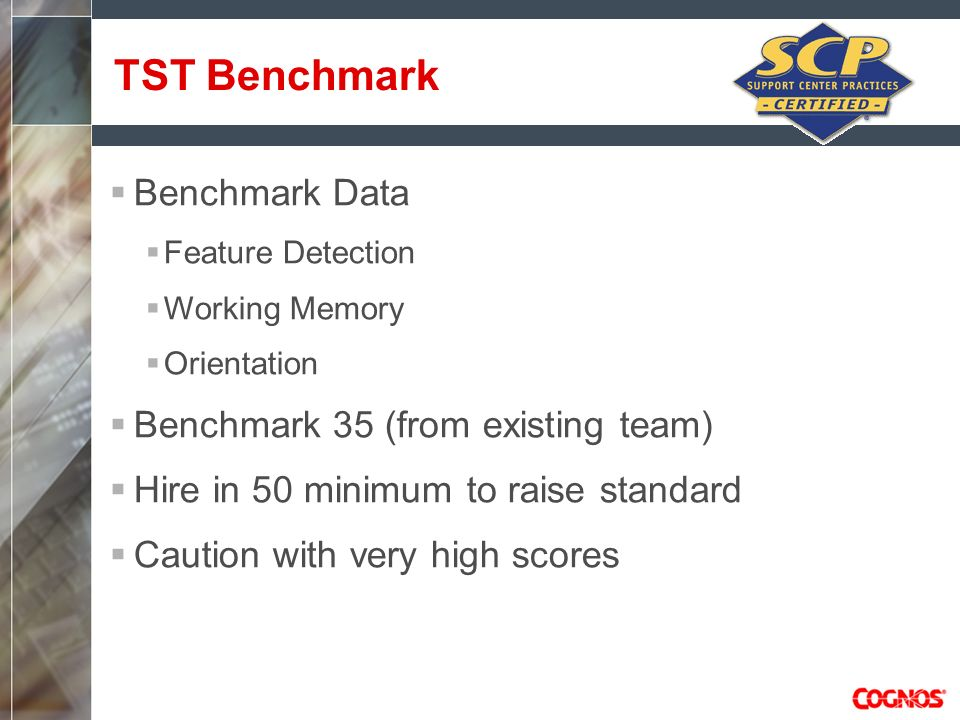 TST Benchmark Benchmark Data Benchmark 35 (from existing team)