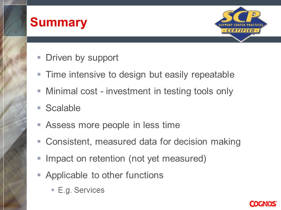Summary Driven by support