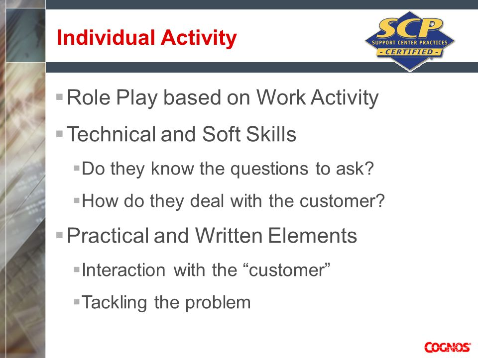 Role Play based on Work Activity Technical and Soft Skills