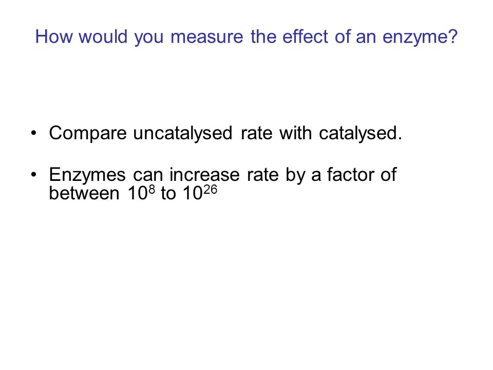 How would you measure the effect of an enzyme