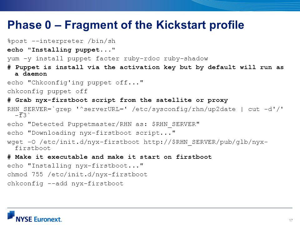 Phase 0 – Fragment of the Kickstart profile