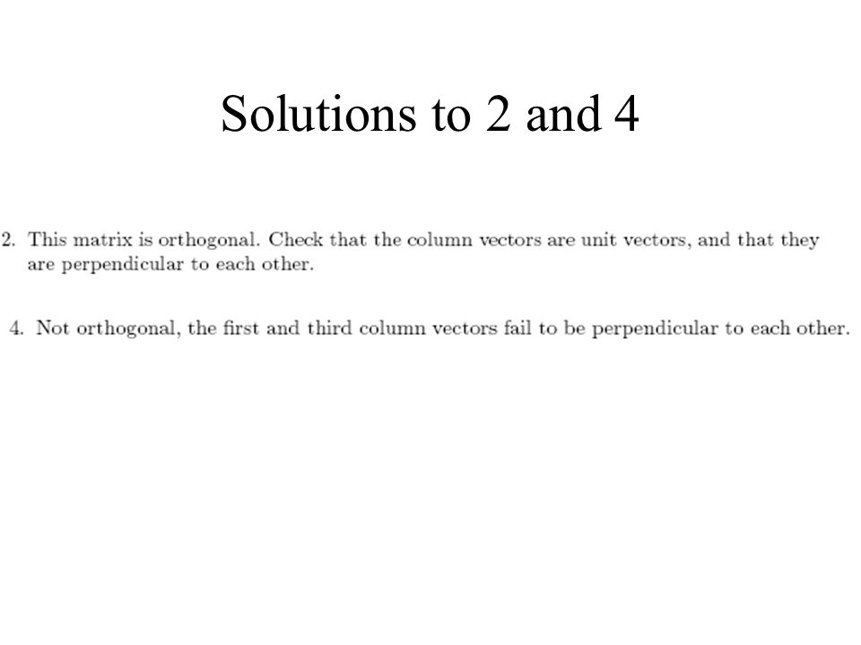 Solutions to 2 and 4