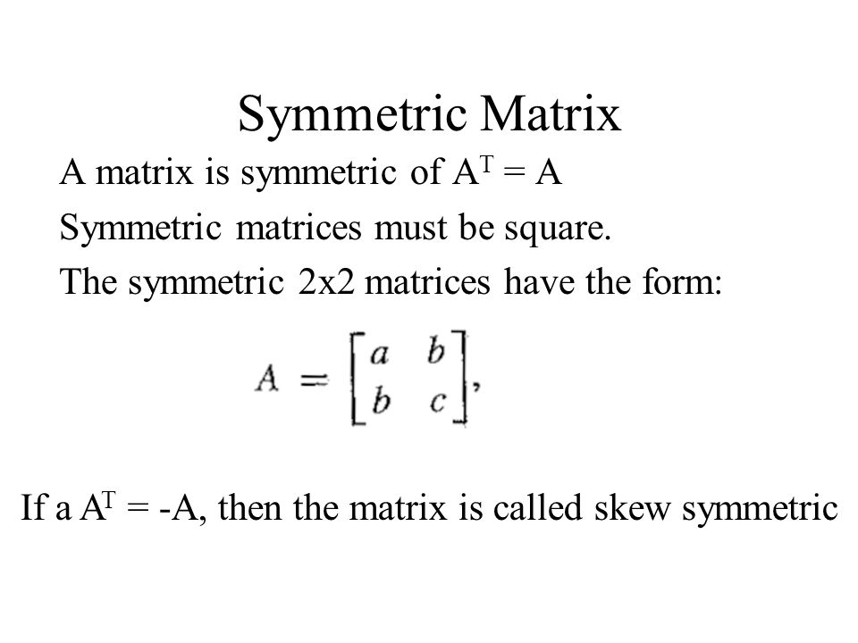 Symmetric Matrix A matrix is symmetric of AT = A