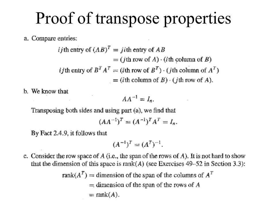 Proof of transpose properties