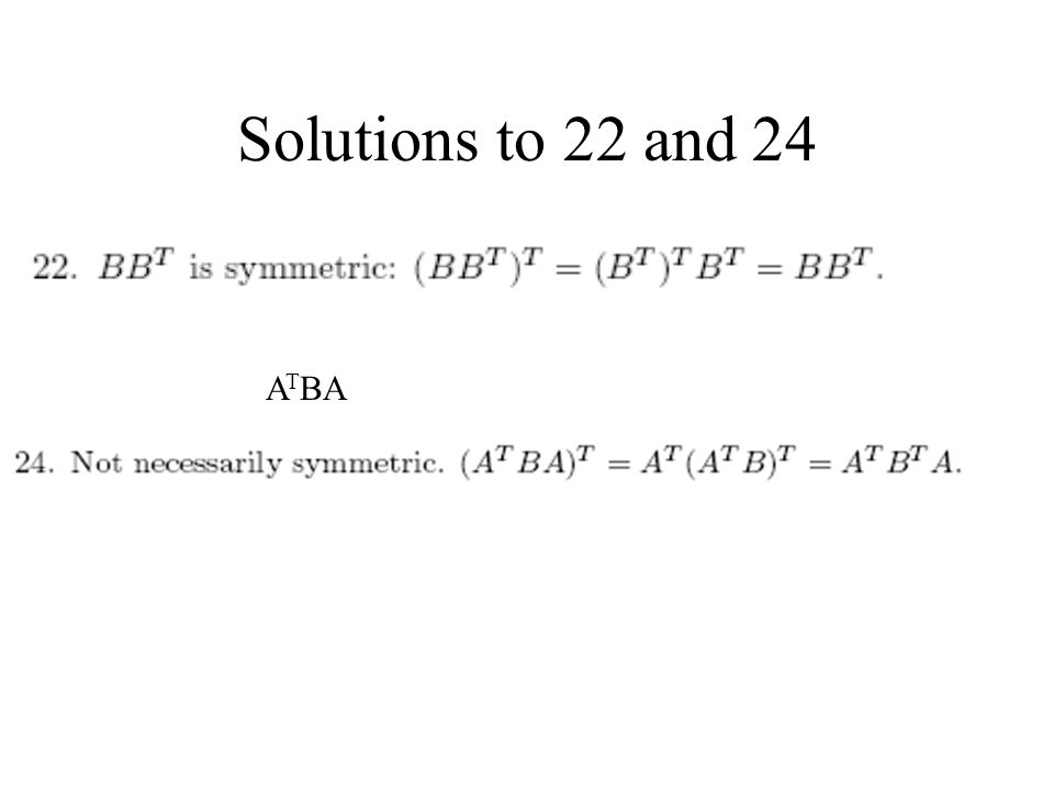 Solutions to 22 and 24 ATBA