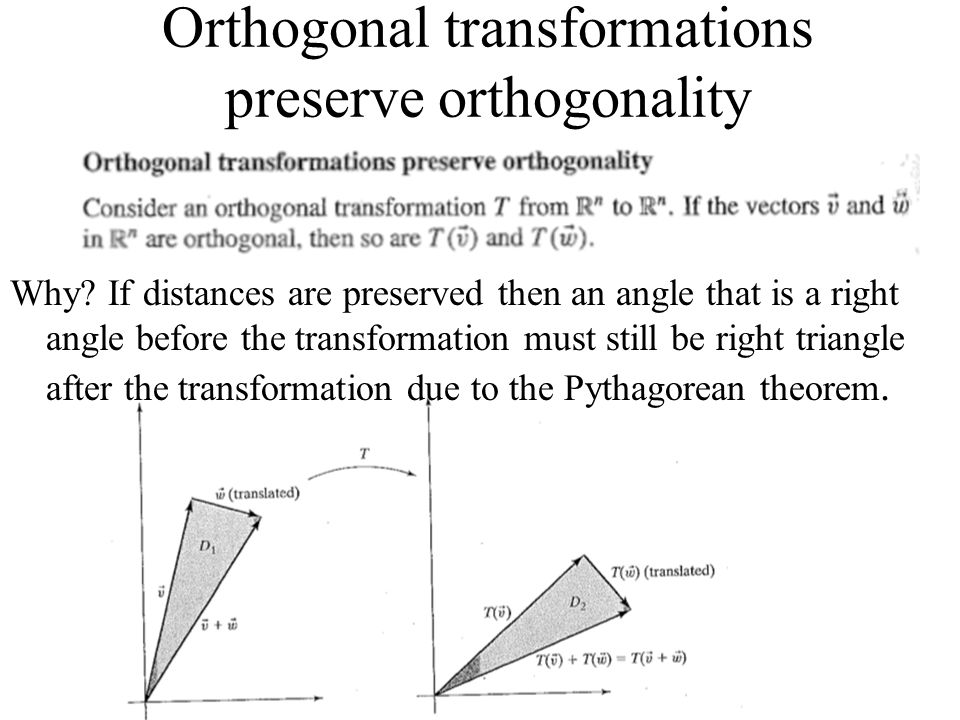 Orthogonal transformations preserve orthogonality