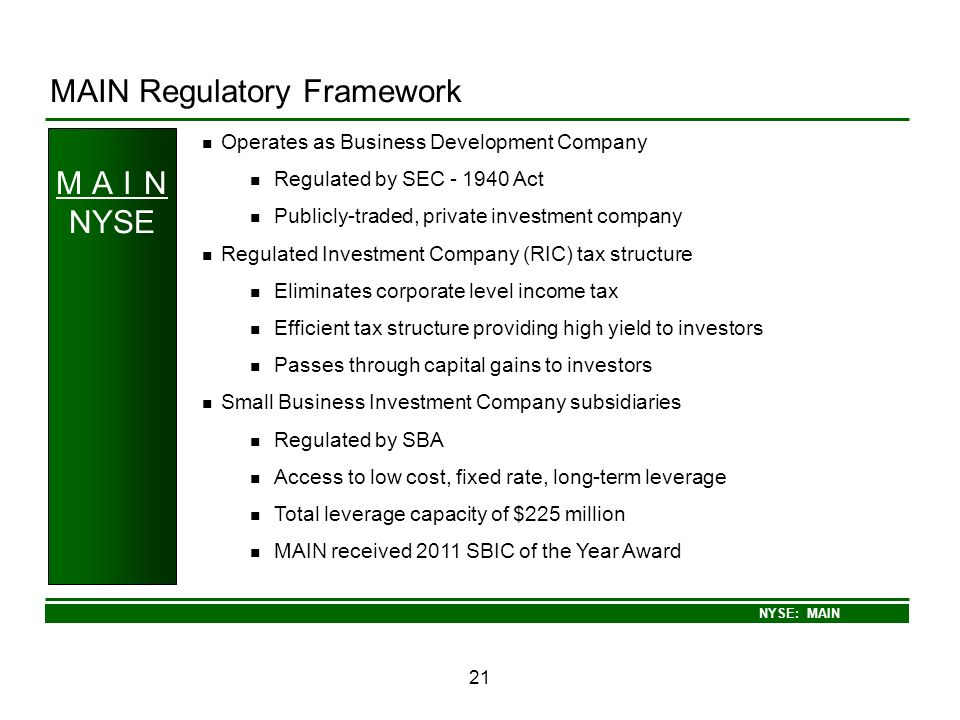 MAIN Regulatory Framework