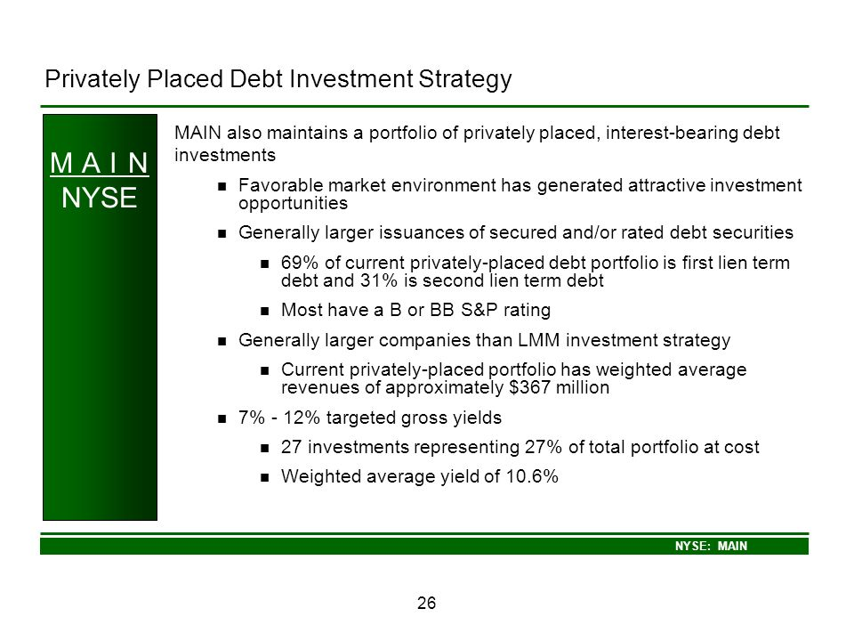 M A I N NYSE Privately Placed Debt Investment Strategy