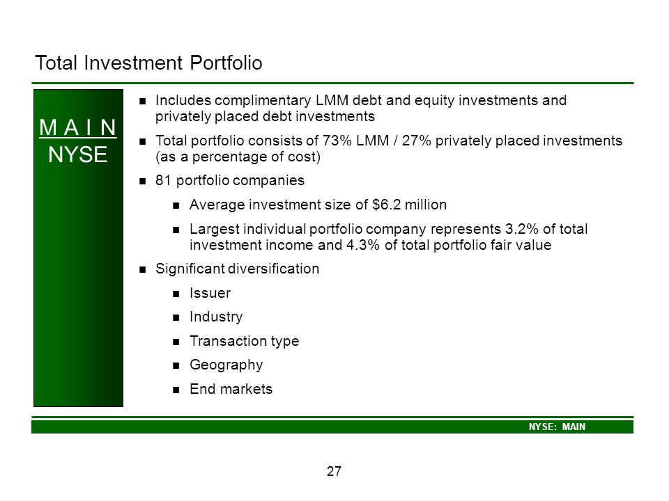 M A I N NYSE Total Investment Portfolio