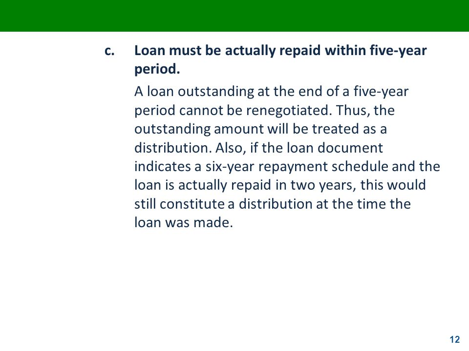 c. Loan must be actually repaid within five-year period.