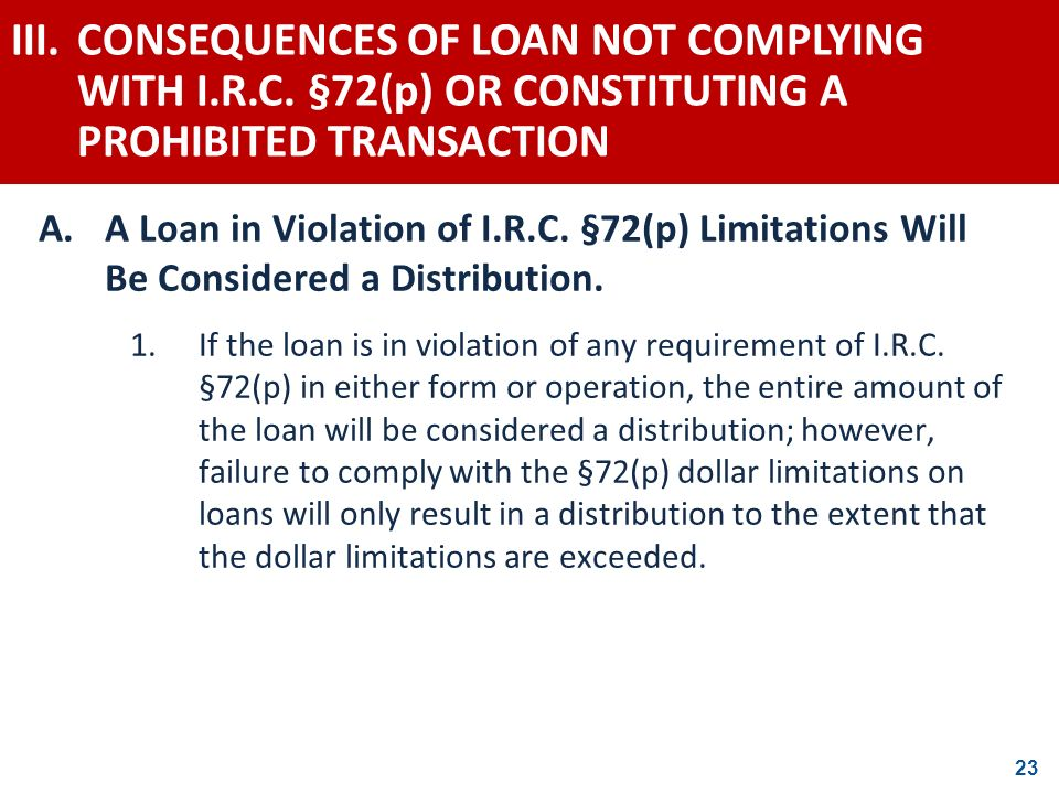III. CONSEQUENCES OF LOAN NOT COMPLYING WITH I. R. C